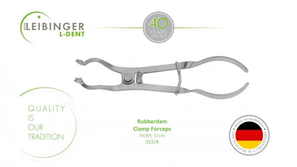 leibinger dental instrument 315-4 Rubberdam Forceps -IVORY, 17cm